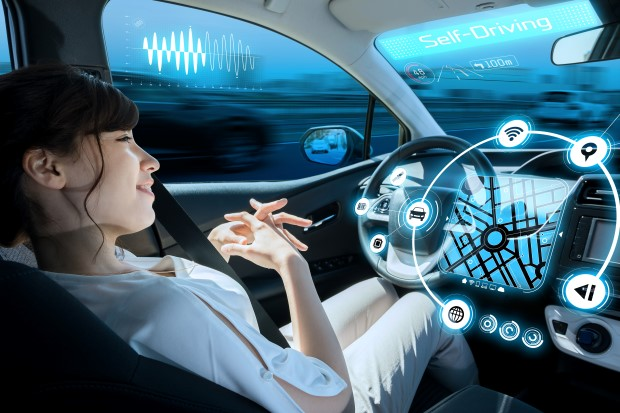 Woman in automated car