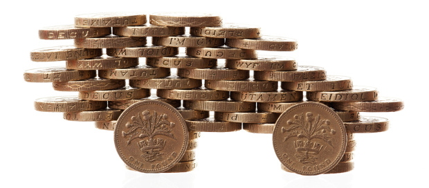 Pound coins shaped as a car